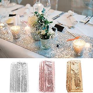 TXCFOO Paillettes Sequins chemin de table Paillette fête de mariage fête d'anniversaire Banquet 30 x 275 CM - Doré