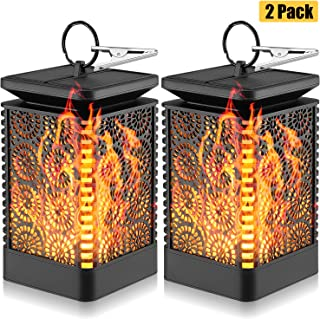 Kohree Solar Lantern Lights Dancing Flame Flickering Waterproof Outdoor Hanging Solar Powered Night Lights, Dusk to Dawn Auto Turn On/Off, Solar Flame Decorative Lights for Garden Patio Yard 2 Pack