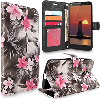 Droid Turbo 2 Case, Cellularvilla [Stand Feature] [Card Slots] Premium Pu Leather Flip Wallet Case Cover For Motorola Droid Turbo 2 Verizon / Kinzie Bounce Xt1585 / Moto X Force (Black Pink Flower)