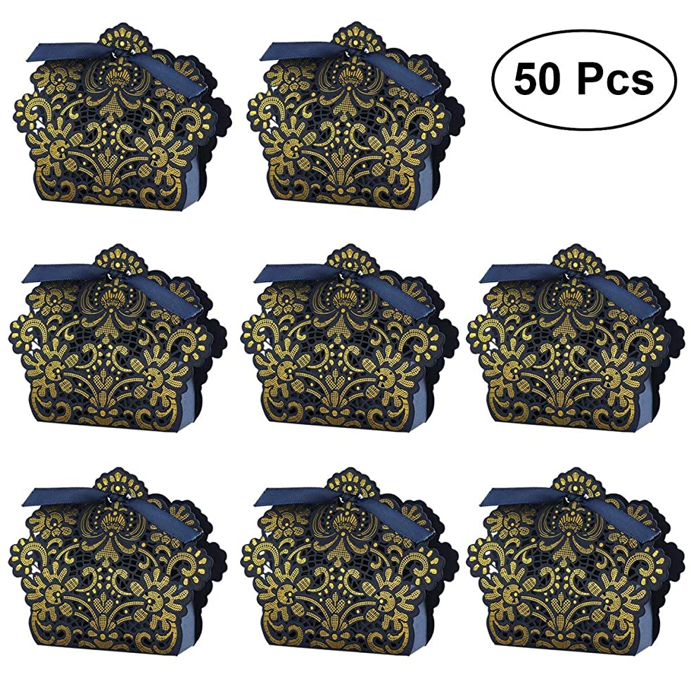 WINOMO 50pcs Wedding Favor Boxes Hollow Out Craft Paper Box For Gifts Candy Sweets with Ribbons (Navy Blue)