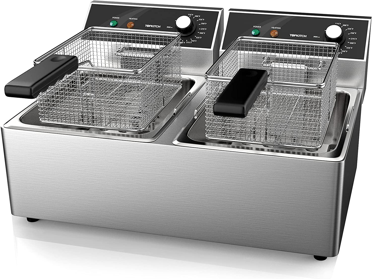 TOPKITCH Commercial Deep Fryer Stainless Steel Dual Tank Deep Fryer with 2 Baskets&Lids Temperature Limiter Capacity 2*10L Electric Countertop Fryer for Restaurant and Home Use