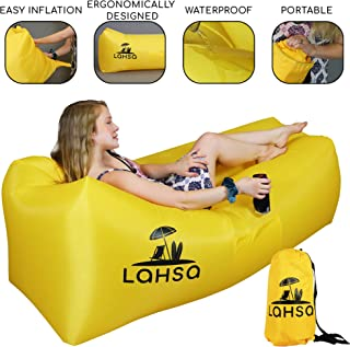 LaHSa Inflatable Lounger Air Sofa Hammock – Ideal Couch for Beach, Pool, Camping, Picnic, Festivals, Traveling – Inflate in Seconds – Waterproof and Durable – Featuring Bottle, iPad, and Phone Holder