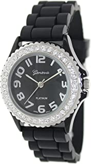 dd52a735b Geneva Platinum Women's 6886.Black.Silver Black Silicone Quartz Watch