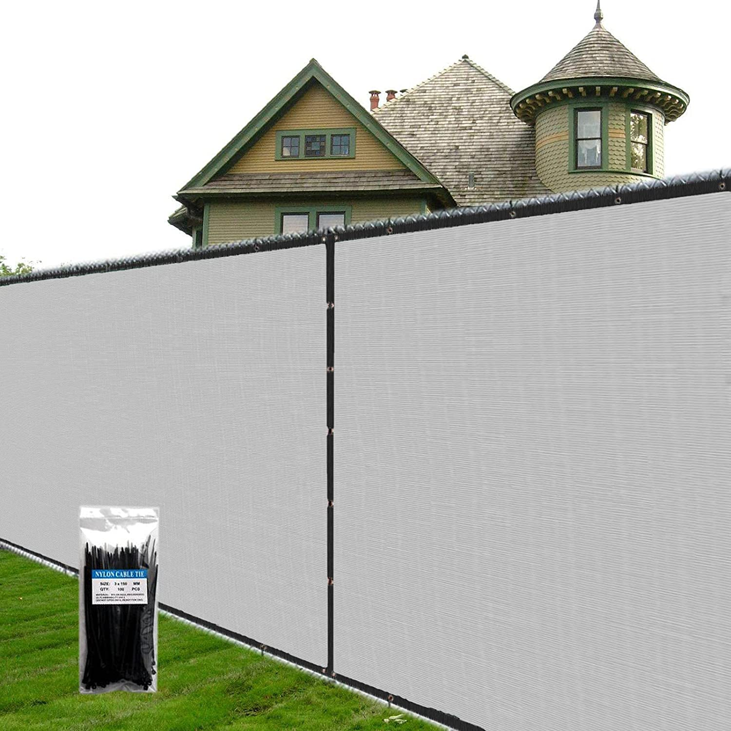 SUNNY MOOD 4' x 181' Custom Be super welcome Privacy Gray Fence Luxury goods Screen Winds Size