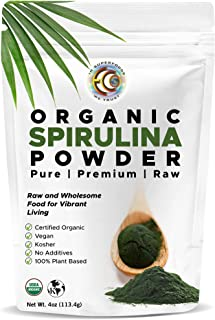 Earth Circle Organics | Organic Spirulina Powder, Kosher, Raw and Non-Irradiated | Pure Vegan Protein | Premium Superfood,...