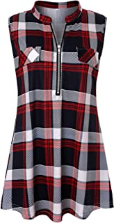 Womens Sleeveless Plaid Shirts V Neck Casual Nice Zip Up Tunic Tank Tops