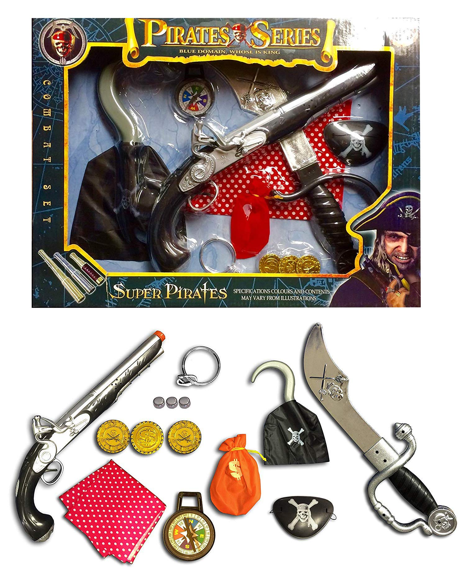 Fancy Dress Party Up Pirate Accessories Set Pirate Gun Money Bag Adult Kid Play