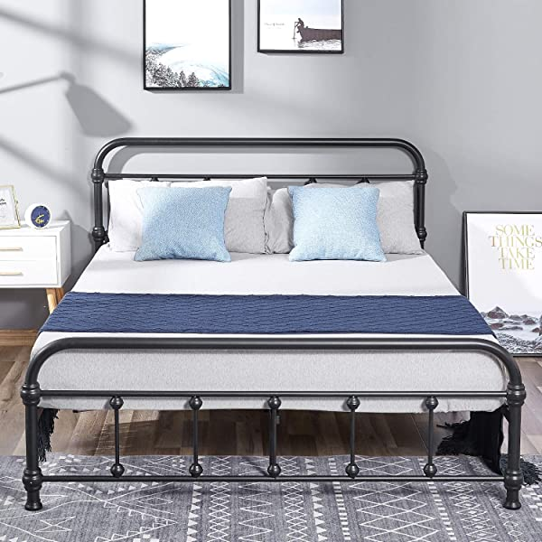 Metal Bed Heavy Duty Steel Slat Noise Free And Anti Slip Mattress Foundation With Headboard And Foot Board Platform Bed Frame No Box Spring Needed Maximum Under Bed Storage Easy Assembly Queen