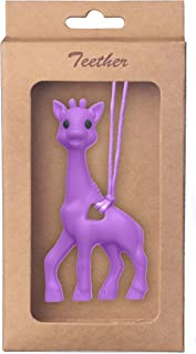 Giraffe Soft Baby Teether Toy, BPA-Free Silicone Infant Teething Relief, Attractive Chew Toys for Babies, and Toddlers | Pendant Necklace Baby Food Grade Teething Hanging Toy (Purple)