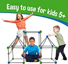 Construction Fort Building Kit, 77 Pieces+ Storage Bag - Build Castles Tunnels Tents Rocket- Creativity and Teambuilding - Great Discovery of Manual Skills (Blue & Green)