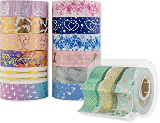 Washi Tape Decorative Set with Dispenser, Gold Foil Accessories for Bullet Journal, Planner, Scrapbook and Arts & Crafts 15 Rolls by Glacia Products
