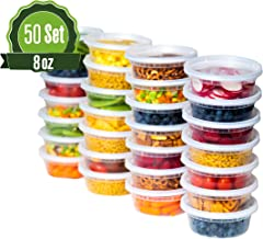 Safeware 8oz [50 Sets] Deli Plastic Food Storage Containers with Airtight Lids - Great for Slime, Soup, Portion Control and Meal Prep   Microwave   Dishwasher   Freezer Safe   Leakproof   Stackable