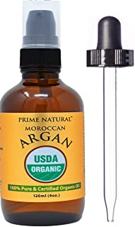Prime Natural Organic Moroccan Argan Oil Cold Pressed Extra Virgin Unrefined (4oz / 120ml) for Face, Skin, Hairs and Nails Care with Moisturizing and Anti Aging Properties