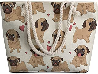 Sleepwish Extra Large Womens Canvas Beach Tote Bag with Top Zipper Closure and Waterproof, Spacious Summer Handbag with Trendy Design for Women, Pug (White) - SSD0116676028
