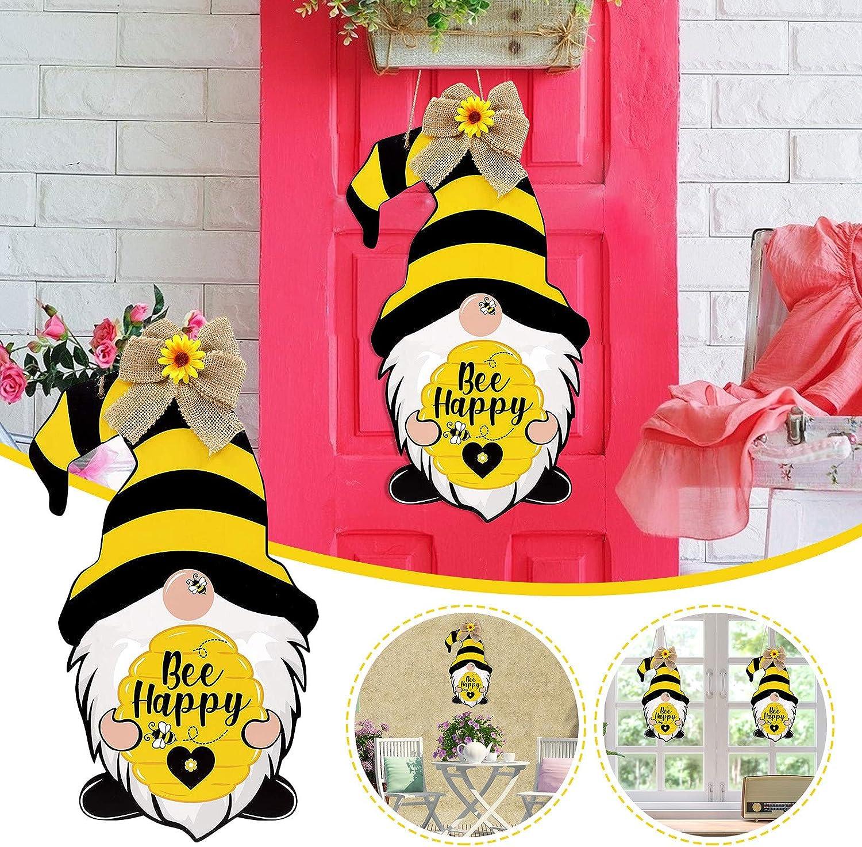 1PC Bee Happy Home Farmhouse Wreath Attachment Spring Summer Front Door Porch Decor Mikcrosco Bee Gnomes Door Sign Scandinavian Tomte Wood Door Hanger Happy Honey Bee Day Decor Wood Hanging Sign