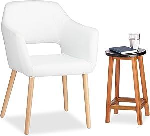 Relaxdays Designer Polstersessel Stoff Bezug weich gepolstert bequem HxBxT 84 x 62 x 56 cm weiß