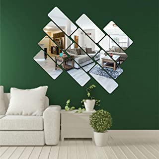 Best Decor 12 Frame Silver Code 763 Acrylic Mirror 3D Wall Sticker Decoration for Kids Room/Living Room/Bedroom/Office/Hom...