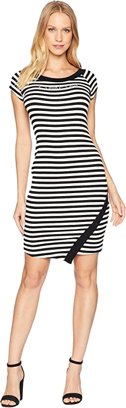Logo Bodycon w/ Asymmetrical Hem Dress