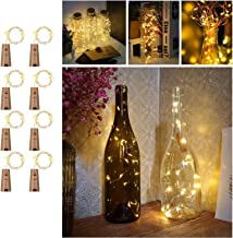 Wine Bottles String Lights with Cork, TERSELY[8 Pack] 2M 20 LED Warm White Waterproof Silver Wire Battery Starry Fairy Lig...