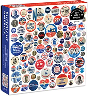 """Best Galison Button Up America Puzzle, 500 Pieces, 20"""" x 20"""" – Jigsaw Puzzle Featuring A Photo of Political Campaign Buttons from American History – Challenging and Ideal for Family Fun Review"""