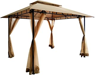 DikaSun 10'x13' Gazebos for Patios Dual Roof Gazebo with Curtains Mosquito Netting, Outdoor Shade Canopy Tent with 130 Squ...