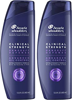 Head & Shoulders Clinical Strength Dandruff Shampoo Twin Pack, Advanced Oil Control with Refreshing Citrus, 13.5 Oz Each