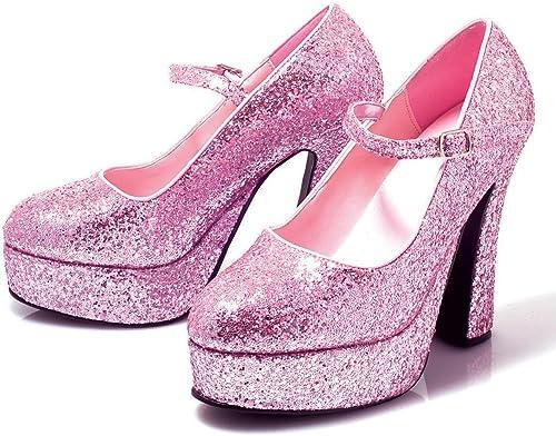 Ellie chaussures Femme Blanc Patent Patent Patent Mary Jane Chaussures - - Rose pailleté, c32