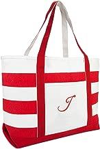 DALIX Beach Tote Bag Shoulder Bags Striped Monogrammed Red Ballent Letter A - Z