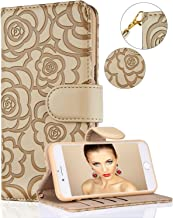 iPhone 8 Plus Case,iPhone 7 Plus Wallet Case,FLYEE Premium Flip Wallet Leather [Emboss Flower] Magnetic Protective Cover with Card Slots for iPhone7 Plus iPhone8 Plus 5.5 Inch yahuacha-Beige