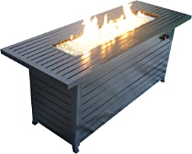 Legacy Heating CDFP-S-CB Retangular Aluminum Fire Pit Table With Stainless Steel Burner And Table Lid, Hammered Black