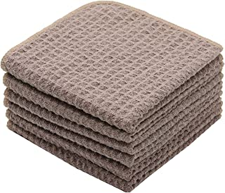 Mia'sDream Microfiber Dish Cloths Waffle Weave Kitchen Cleaning Cloth Dish Rags 12inch X 12inch 6 Pack Brown