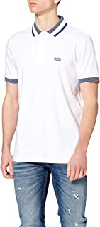 BOSS Mens Paddy 1 Cotton Logo Polo Shirt with Three-Coloured Stripes