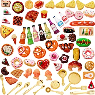 Skylety 68 Pieces 1:12 Miniature Food Drinks Bottles Dollhouse Accessories Mixed Tableware Kitchen Pretend Play Miniature ...