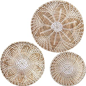 Hanging Woven Wall Basket Decor Set of 3   Seagrass Baskets Wall Decor   Perfect For Natural Boho Home Decor   Handmade Decorative Baskets with a hook on the Back   Unique Wall Art