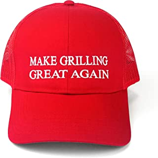 Funny BBQ Grill Trucker Hat for Men Barbecue Grilling Accessory Gift Idea for Dad Love to Grill Smoke Meat Pitmaster Smoker Accessories Men Women Grillfather Trump Quote Baseball Cap Red