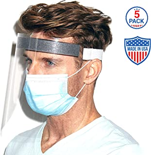 Shield Our Heroes NYC Protective Face Shield 5 Pack - Hand Made In USA - Hand Sewn - Durable - Clear Polycarbonate PETG - Spit Guard - Comfort Foam - Form Fitting Elastic - Unisex