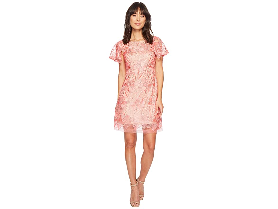 Taylor Embroidered Lace Cap Sleeve Dress (Coral) Women