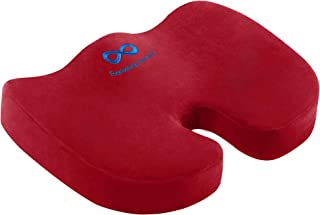 Everlasting Comfort Memory Foam Seat Cushion Designed for Back, Hip, and Tailbone Pain - Fits Office Chair and Car, Red