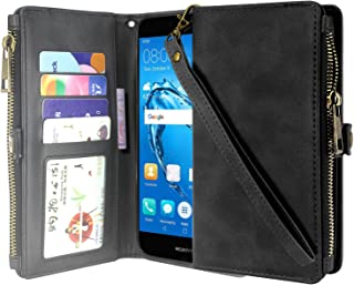 Huawei Ascend XT 2 Case, Huawei Elate 4G LTE Case, Linkertech Premium Leather Flip Zipper Wallet Case Cover with Card Holder and Wrist Strap for Huawei Ascend XT2 H1711 (Zipper Black)