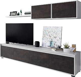 Habitdesign - Mueble de Comedor Moderno (Blanco Artik y Oxido)