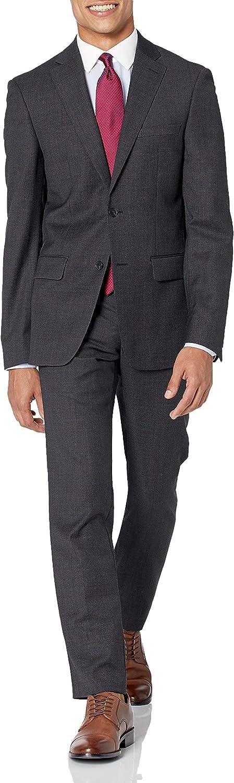 DKNY Men's Uptown Slim Suit, Black/red Windowpane, 42S