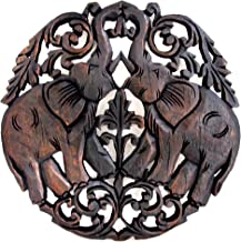 Blue Orchid Thai Elephant Teak Wood Wall Panel Hand Carved (Elephant Round Fig Leaf)
