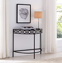 Kings Brand Furniture - Michelino Pewter Metal/Black Tempered Glass Console Table