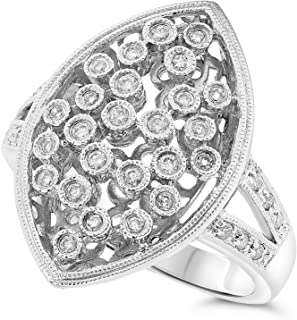 JewelryBliss 14k White Gold Diamond Cocktail Cluster Ring