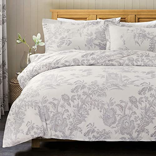 fa44a4ae28a4 Bedsure Floral Printed Duvet Cover Set King Size White & Grey Chic Vintage  Pattern Toile with