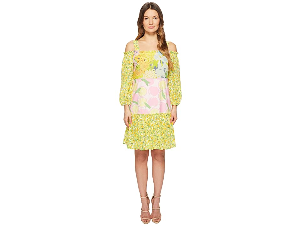 Boutique Moschino Patchwork Print Dress with Cold Shoulder Sleeves (Fantasy Print Yellow) Women
