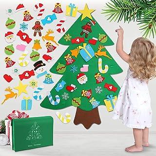 WOSTOO Julgran med filt, gör-det-själv julgran med 32 st prydnader för barn jul nyår dekoration