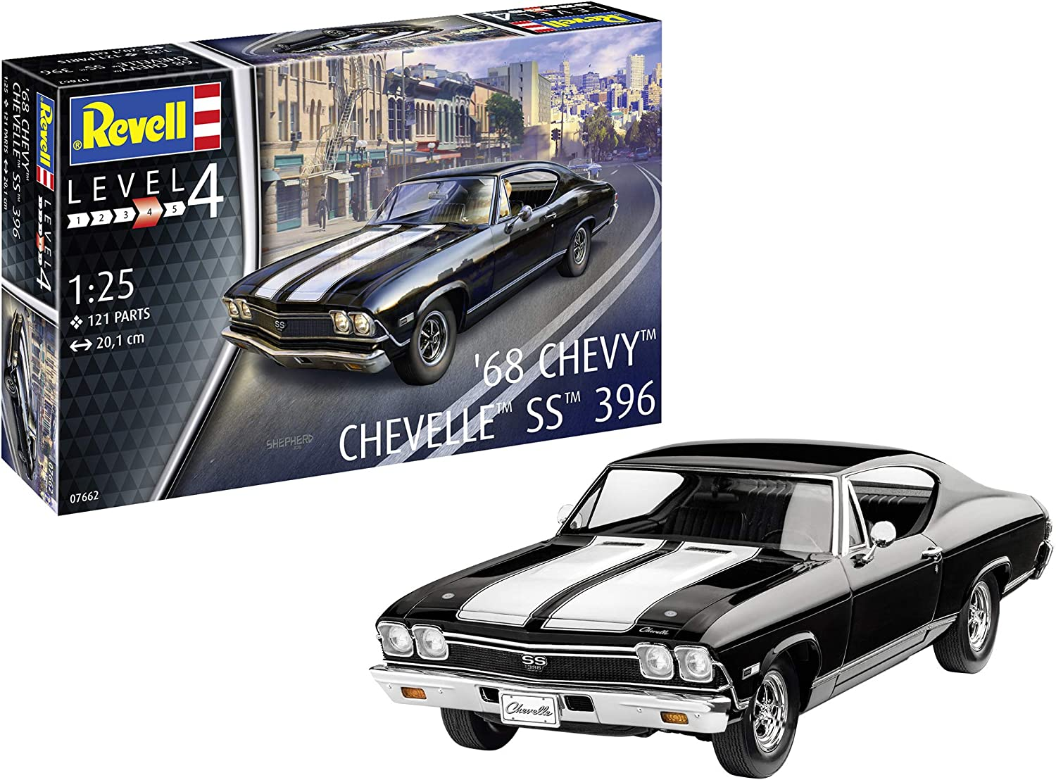 Revell GmbH Revell 07662 7662 1 25 1968 Chevy ChevellePLastic Model Kit, Multicolour, 1 25