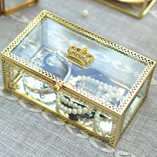 Hersoo Decorative Box Accent Trinket Case Clear Table Top Glass Lid Jewelry Display Vanity Organizer for Ring/Necklace Showcase/Keepsake Box