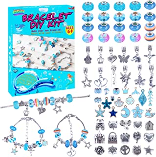 DIY Charms Beads Jewelry Bracelet Making Kit Supplies for Girls with Colourful Beads Silver Plated Snake Chain,Arts and Cr...